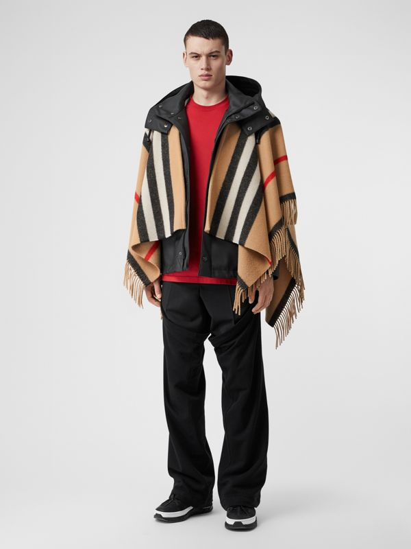 Striped Wool Cape in Camel - Women | Burberry Australia - cell image 2