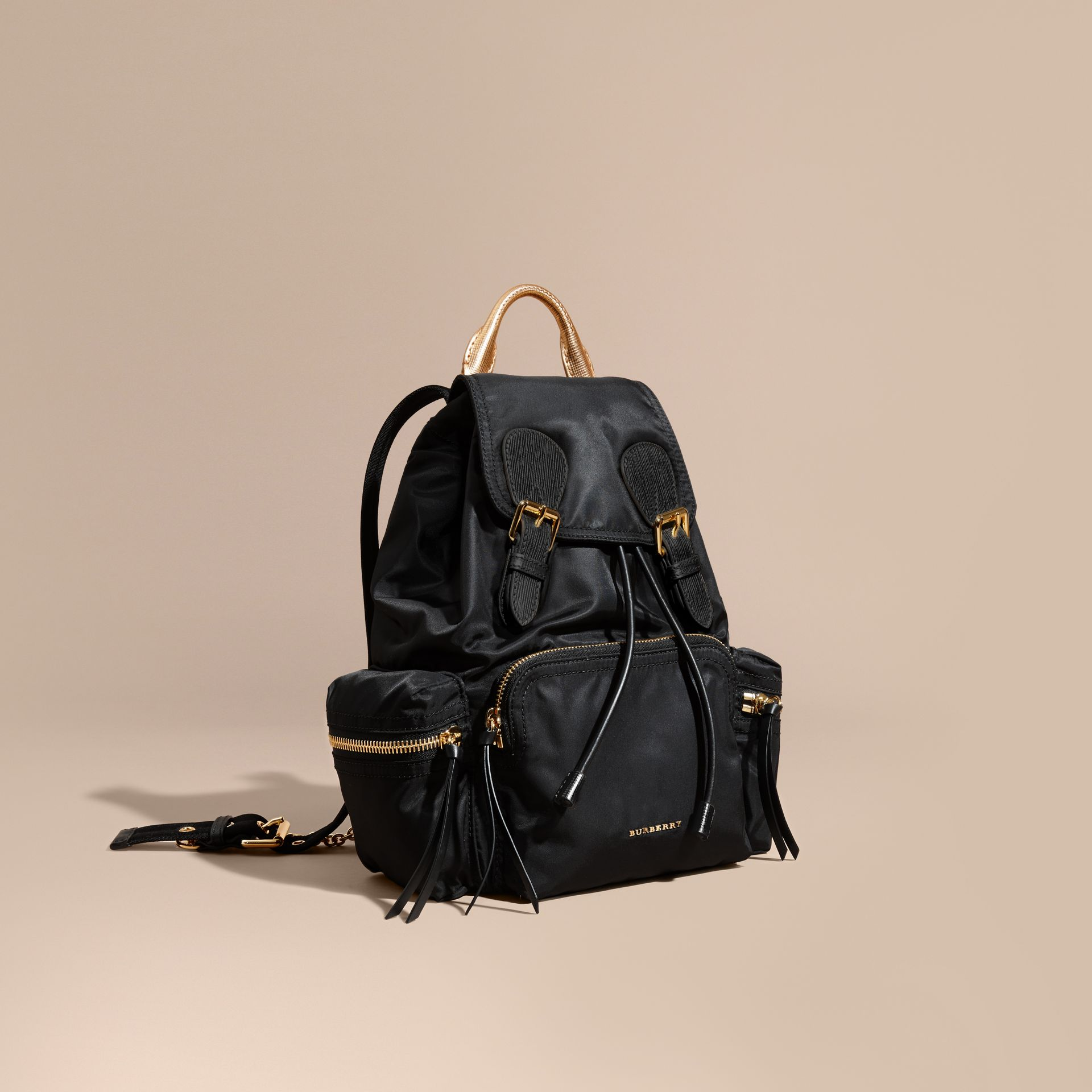 Black/gold The Medium Rucksack in Two-tone Nylon and Leather Black/gold - gallery image 1