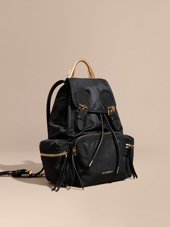 The Medium Rucksack in Two-tone Nylon and Leather Black/gold