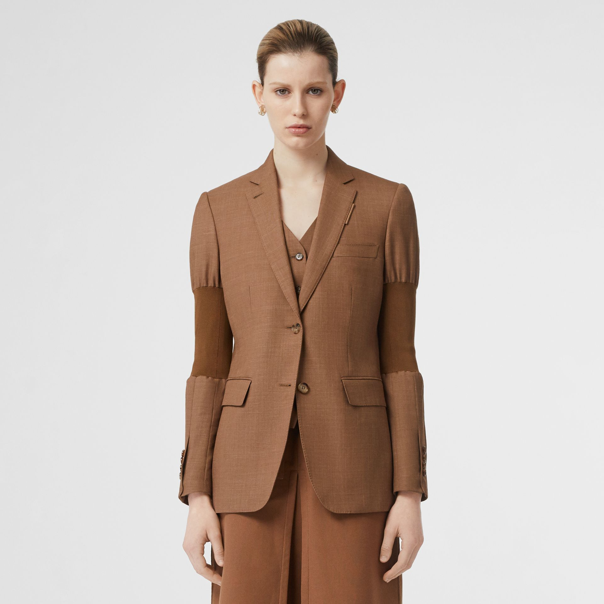 Panelled-sleeve Mohair Wool Blend Tailored Jacket in Bronze - Women | Burberry - gallery image 6