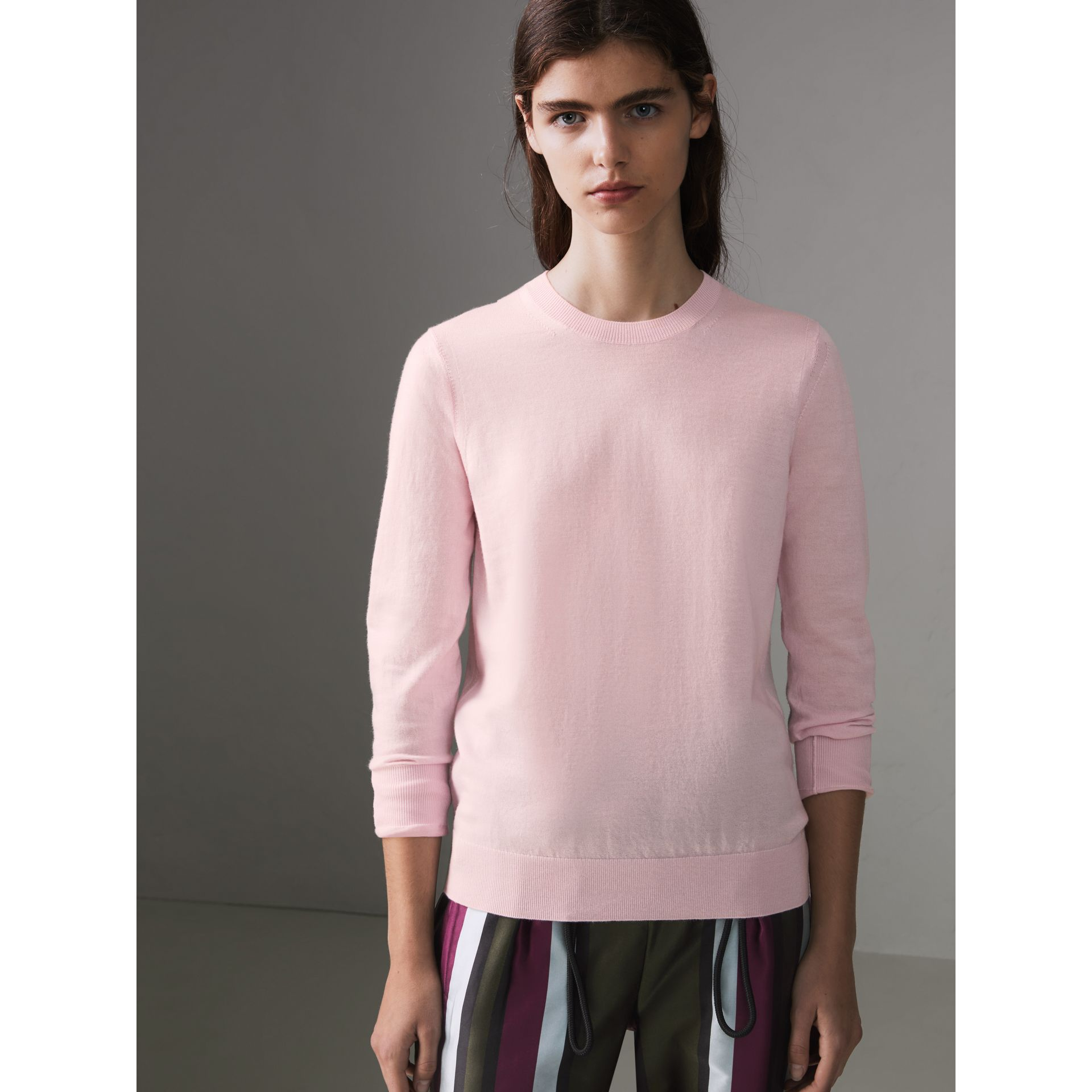 Check Elbow Detail Merino Wool Sweater in Light Pink - Women | Burberry United States - gallery image 4