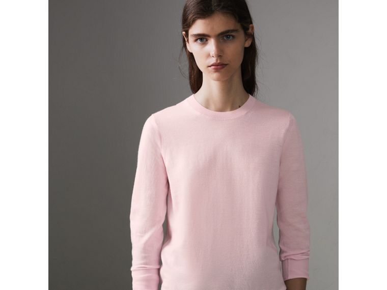 Check Elbow Detail Merino Wool Sweater in Light Pink - Women | Burberry - cell image 4