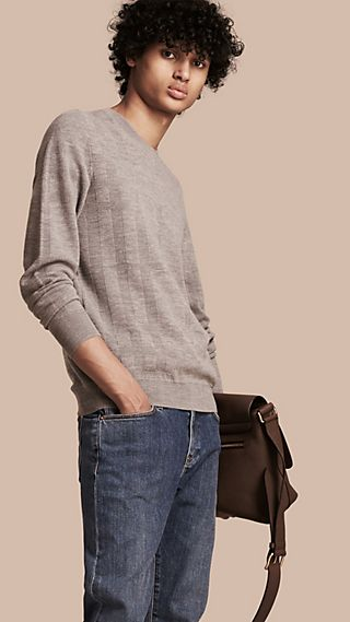 Pullover leggero in jacquard di lana e seta con motivo check