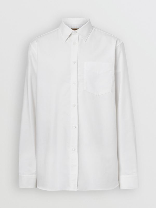 EKD Appliqué Cotton Oxford Shirt in White - Men | Burberry Singapore - cell image 3