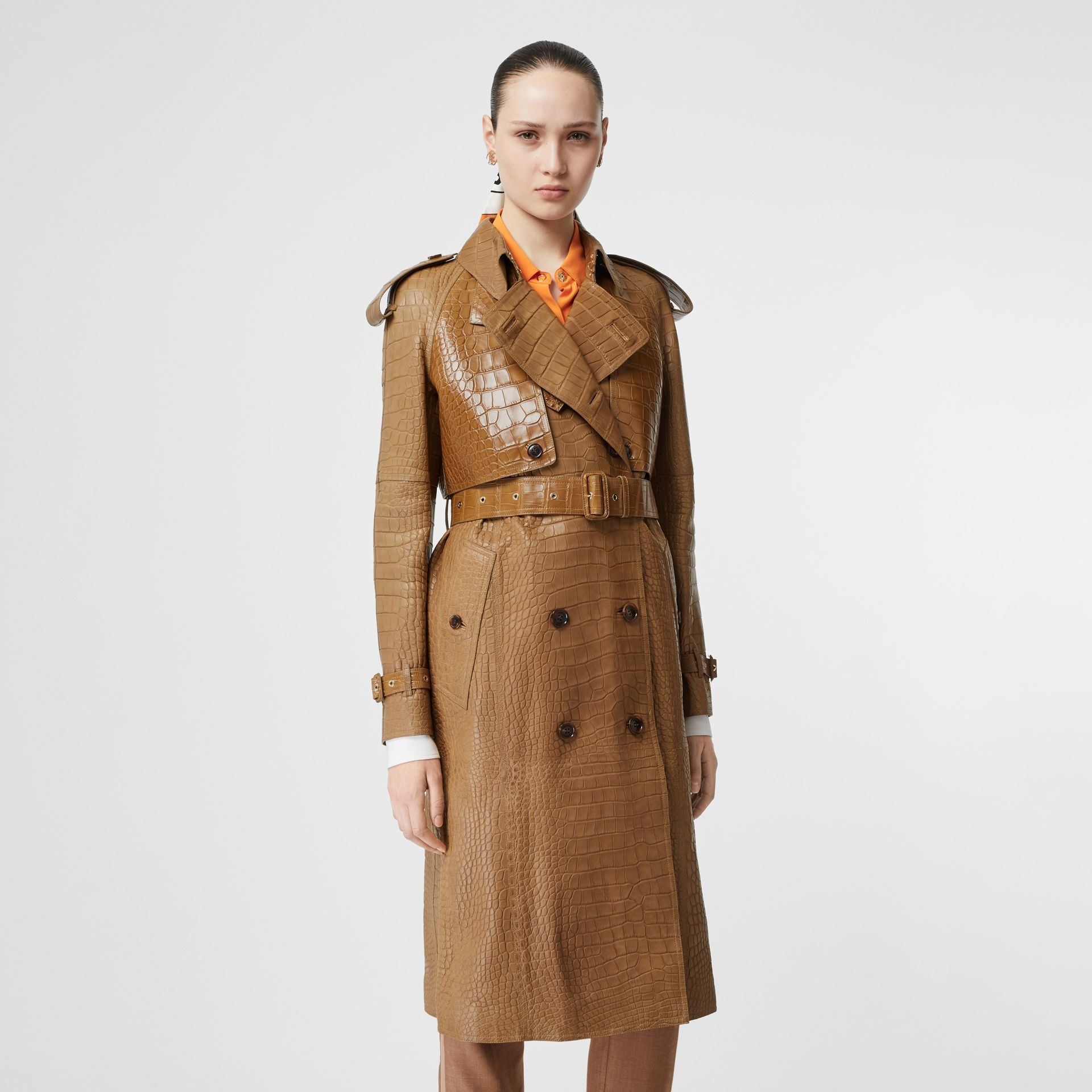 Alligator Trench Coat in Flaxseed - Women | Burberry - gallery image 5