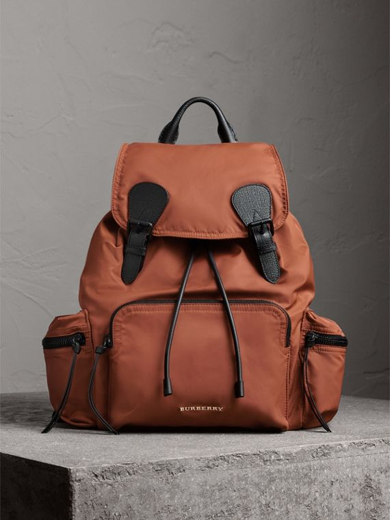 The Large Rucksack in Technical Nylon and Leather in Redwood