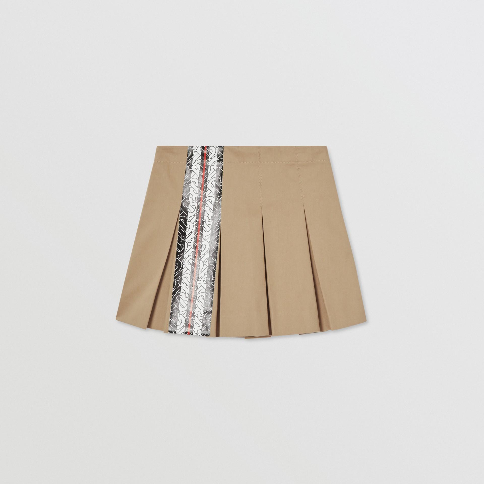 Monogram Stripe Print Cotton Skirt in Honey | Burberry - gallery image 0