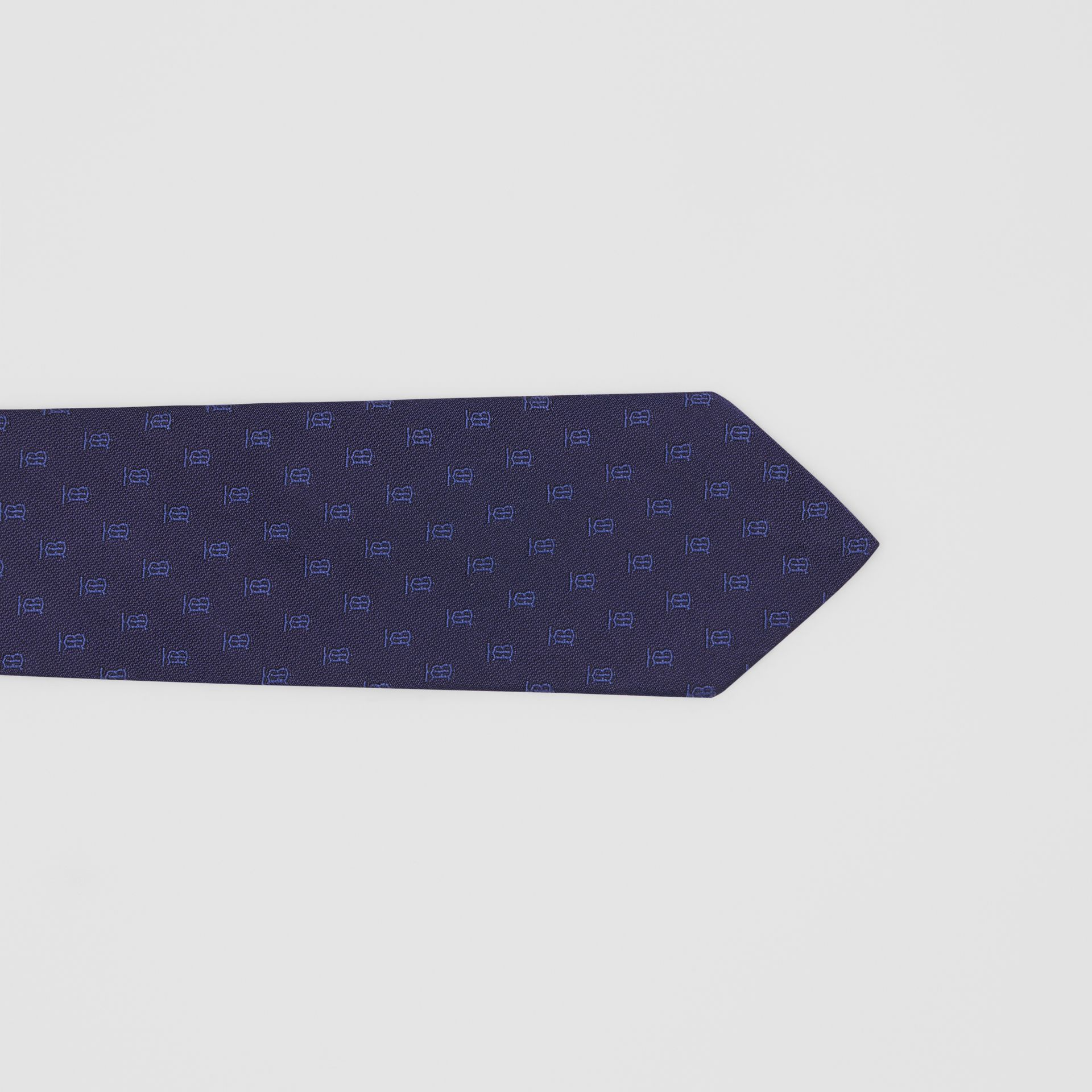Classic Cut Monogram Motif Silk Jacquard Tie in Navy - Men | Burberry Canada - gallery image 1