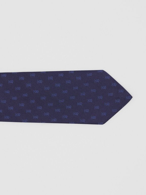 Classic Cut Monogram Motif Silk Jacquard Tie in Navy - Men | Burberry United Kingdom - cell image 1