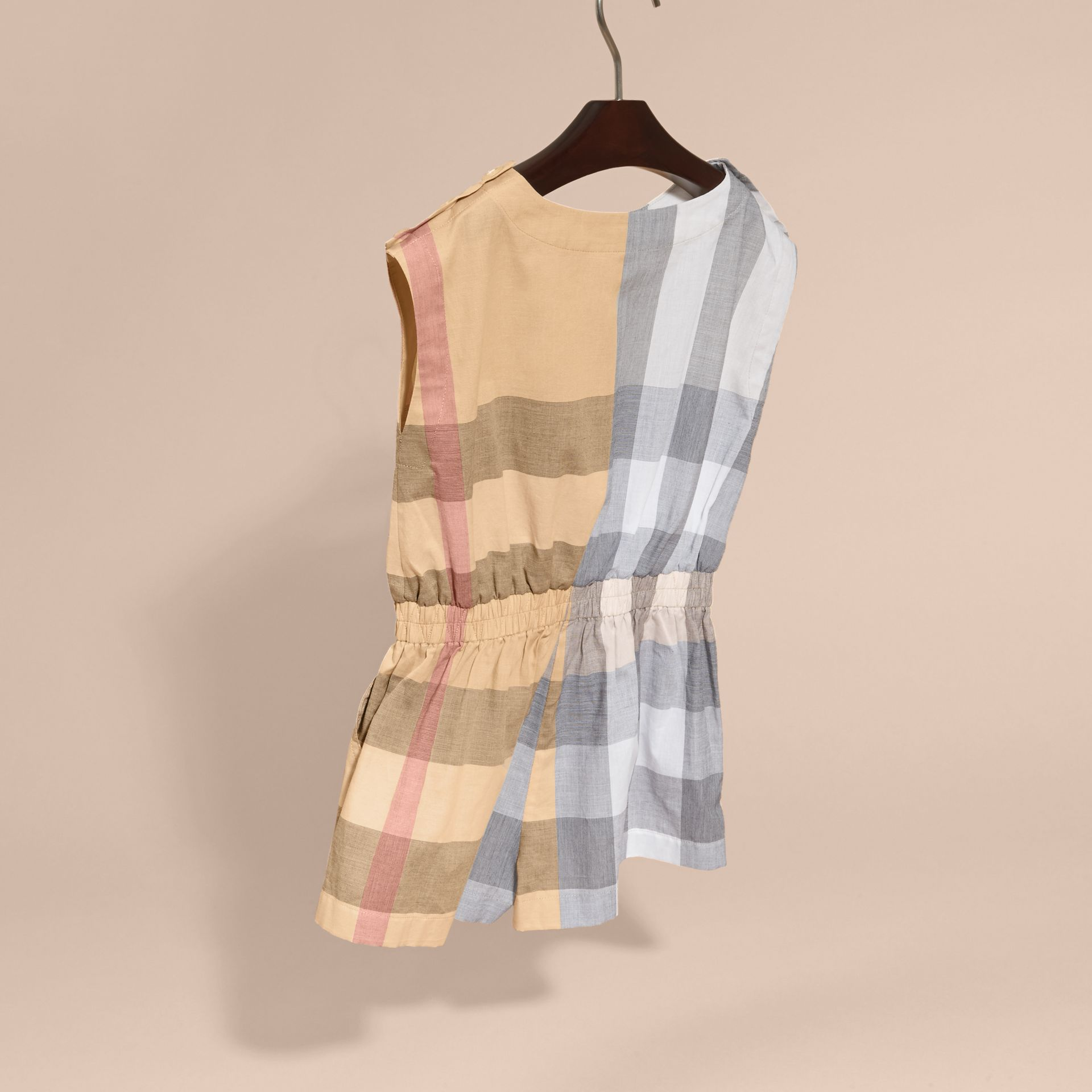 Check Cotton Playsuit in Pale Stone - Girl | Burberry - gallery image 4