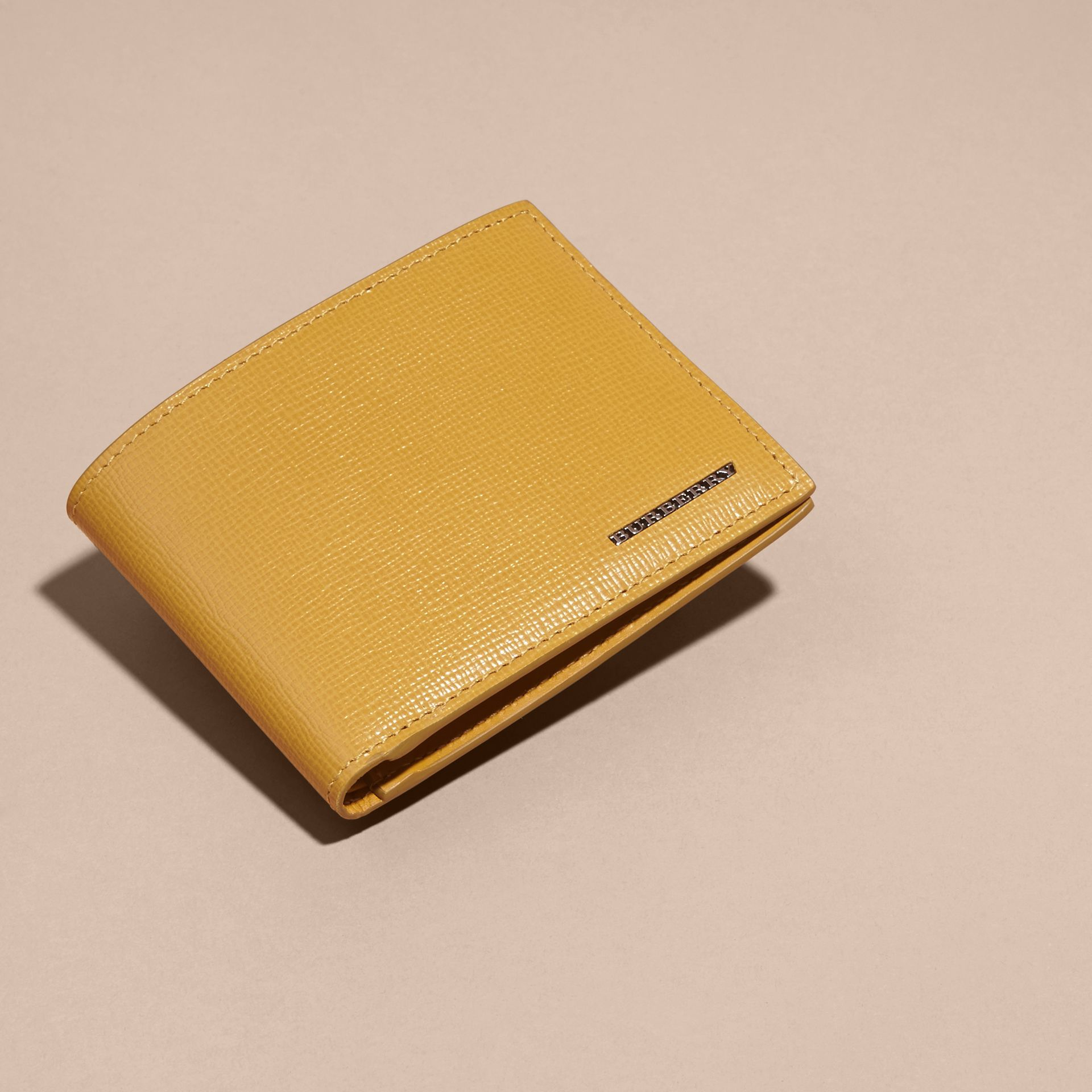 London Leather Bifold Wallet in Larch Yellow - gallery image 6