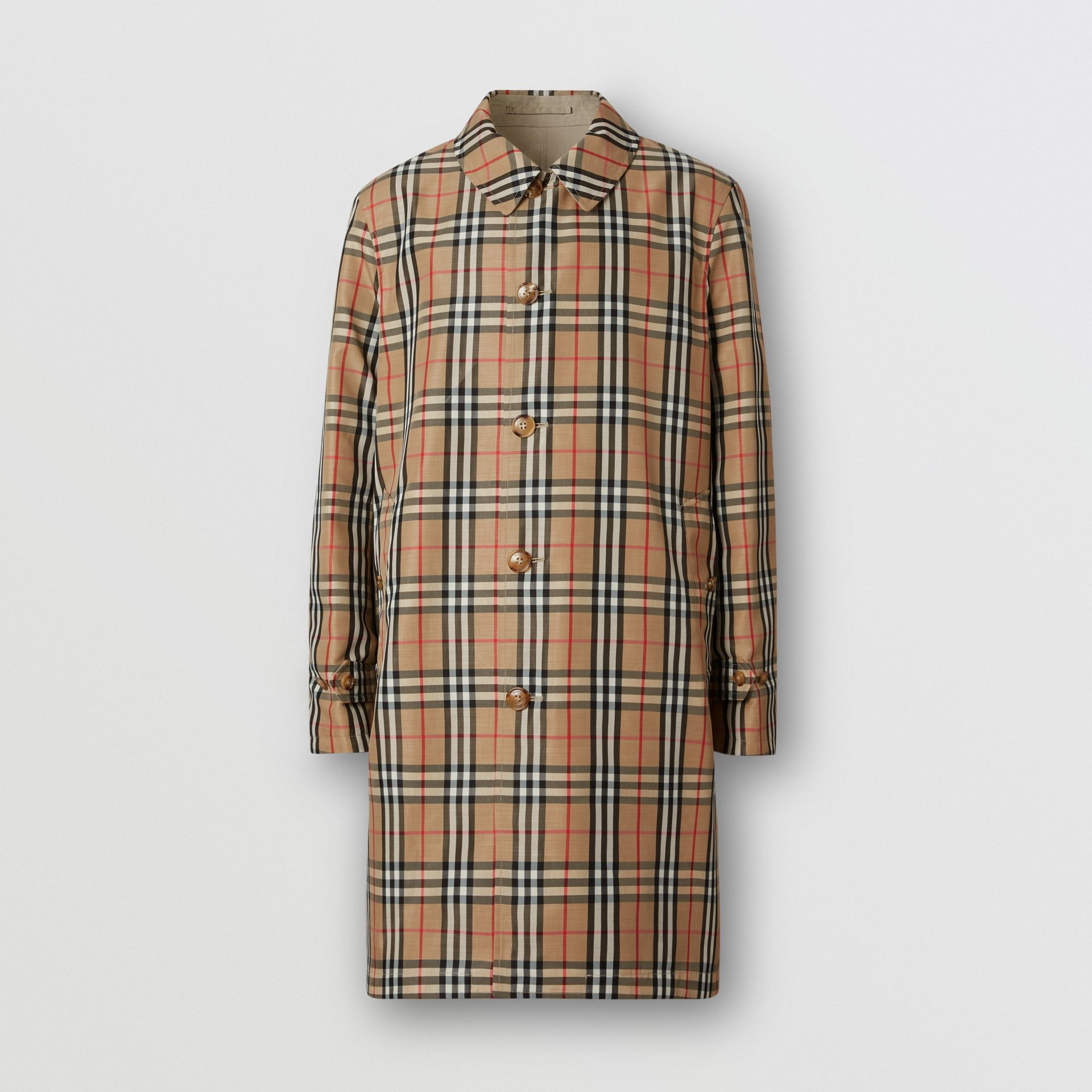 Reversible Vintage Check Recycled Polyester Car Coat in Archive Beige - Men | Burberry - gallery image 7