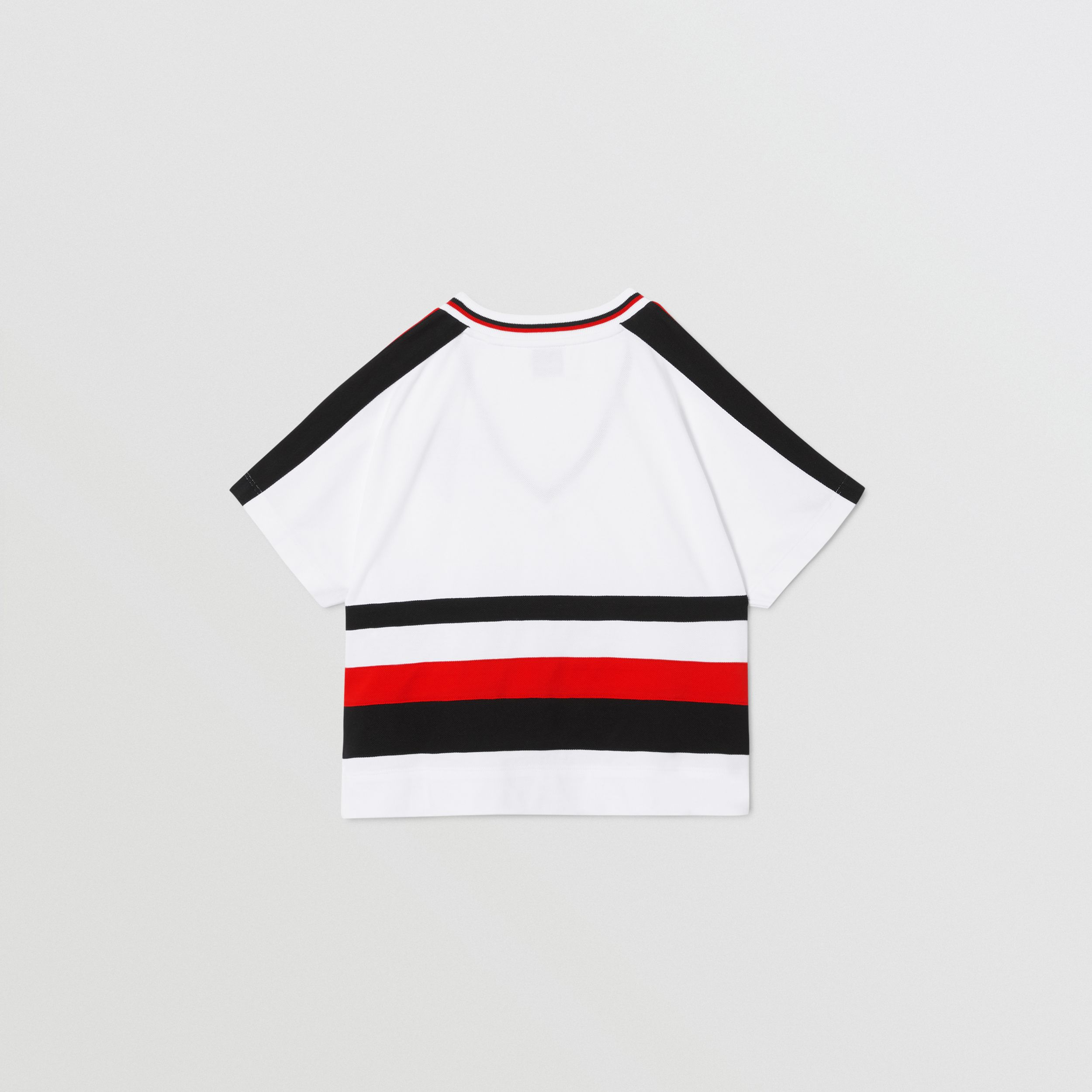 Logo Graphic Striped Cotton T-shirt in White | Burberry - 4