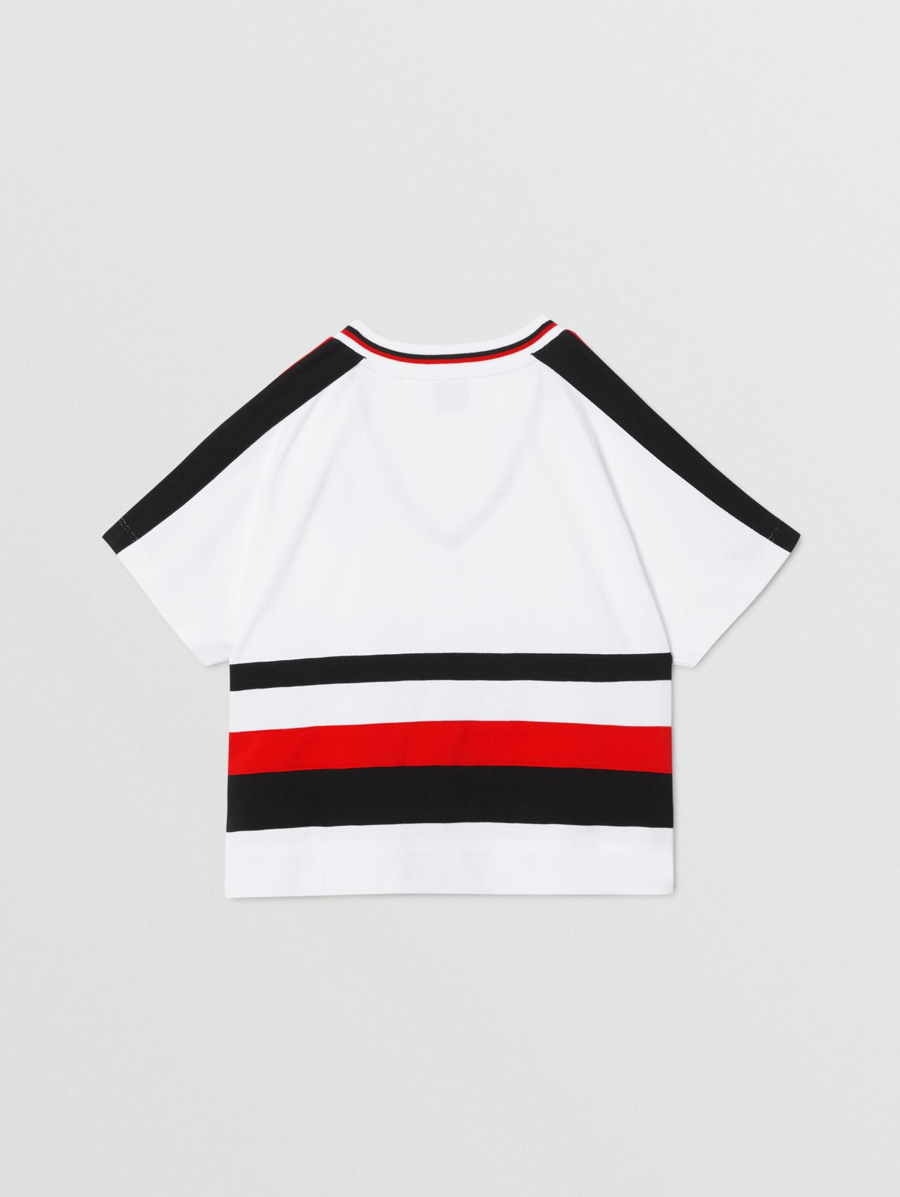 Logo Graphic Striped Cotton T-shirt (White)