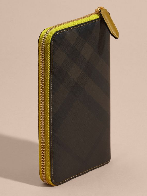 Larch yellow Contrast Trim London Check Ziparound Wallet - cell image 3