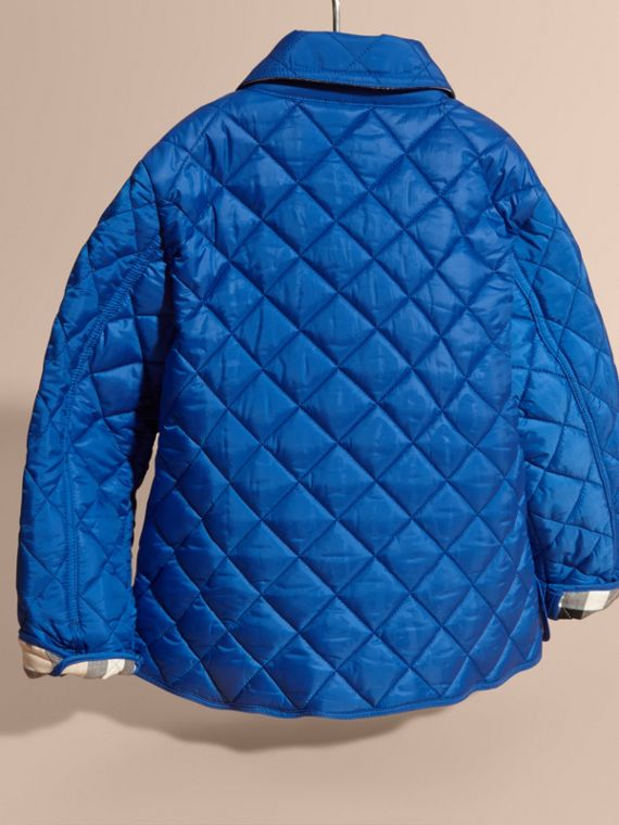 Diamond Quilted Jacket in Brilliant Blue - cell image 3