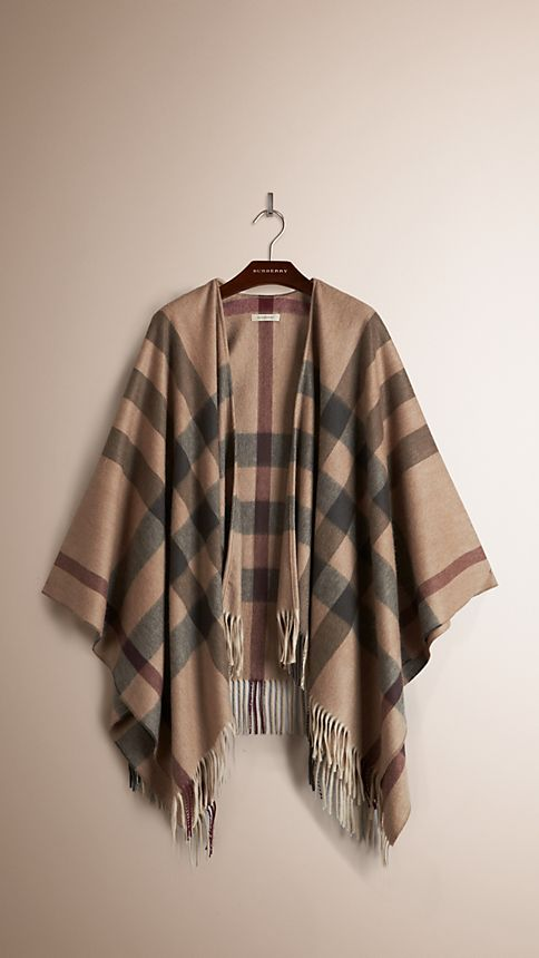 Smoked trench check Check Wool and Cashmere Poncho - Image 3