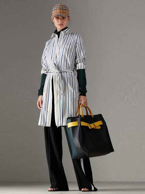 Striped Silk Shirt Dress in Off White