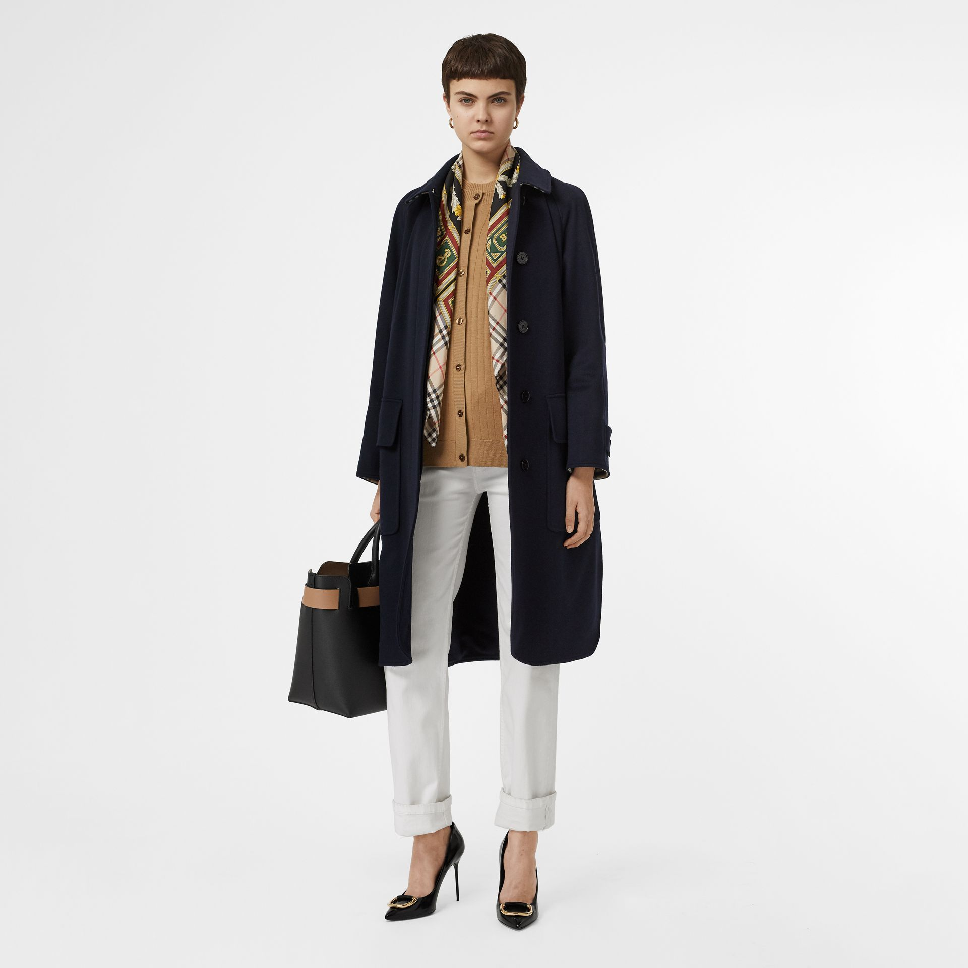 Cashmere Car Coat in Dark Ink Blue - Women | Burberry United Kingdom - gallery image 0