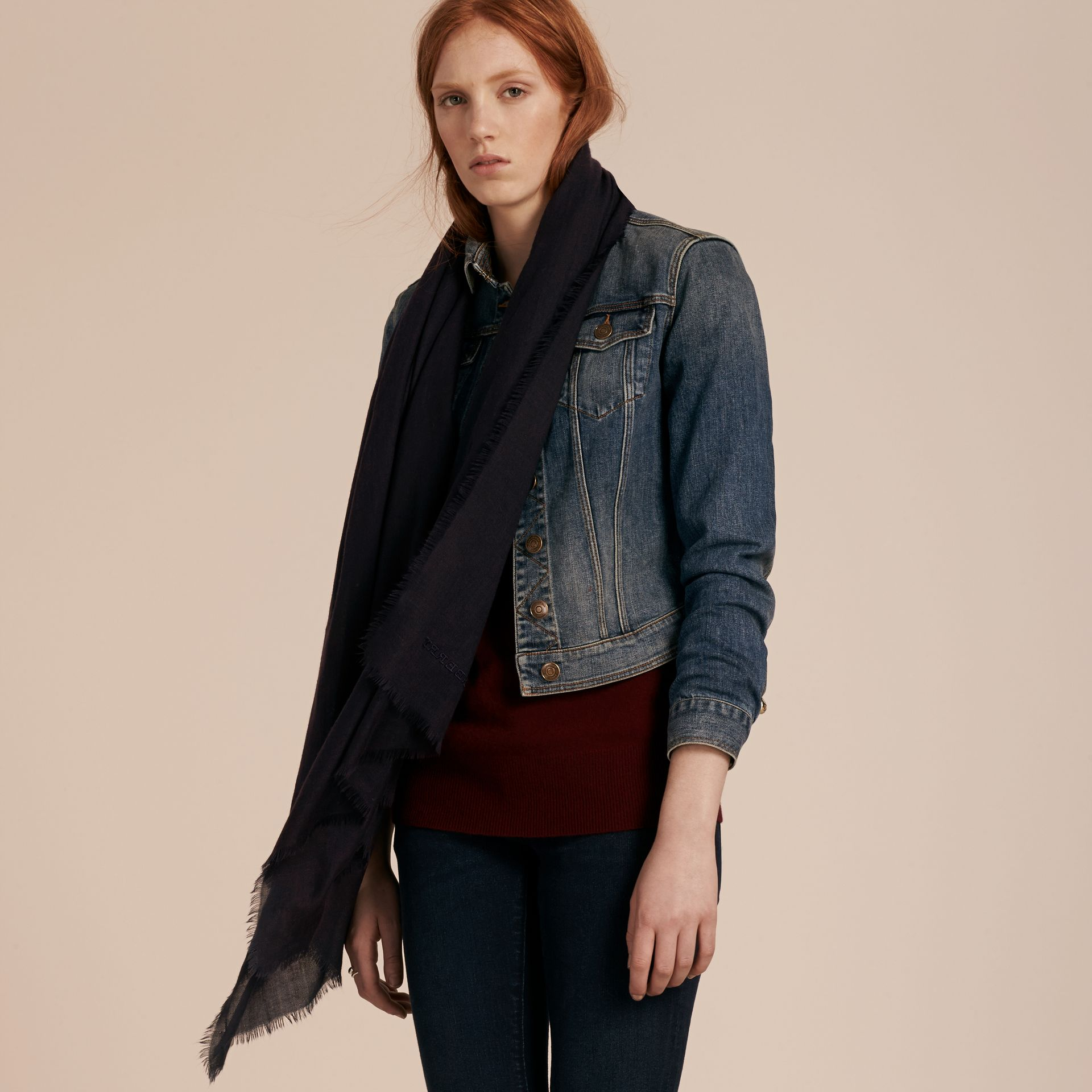 Navy The Lightweight Cashmere Scarf Navy - gallery image 3