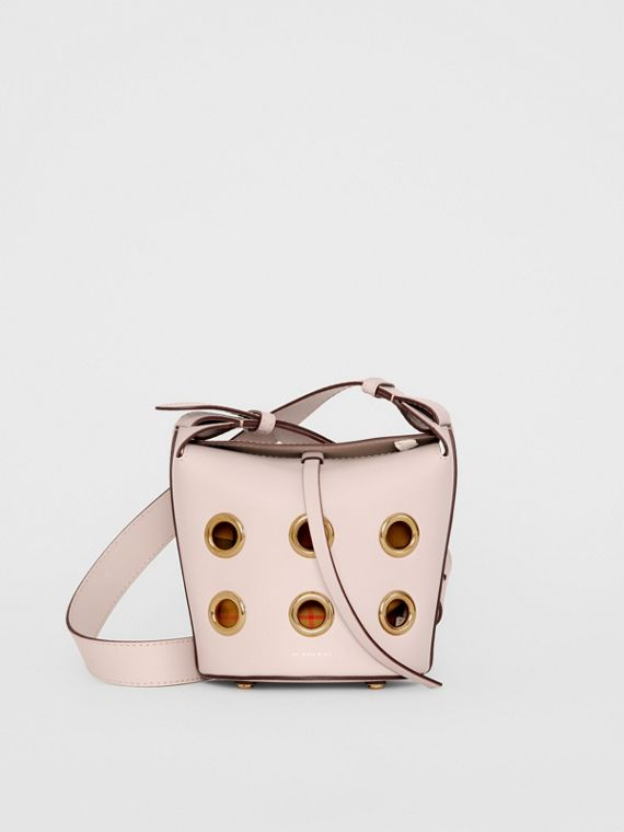 The Mini Bucket Bag in Grommeted Leather in Chalk Pink