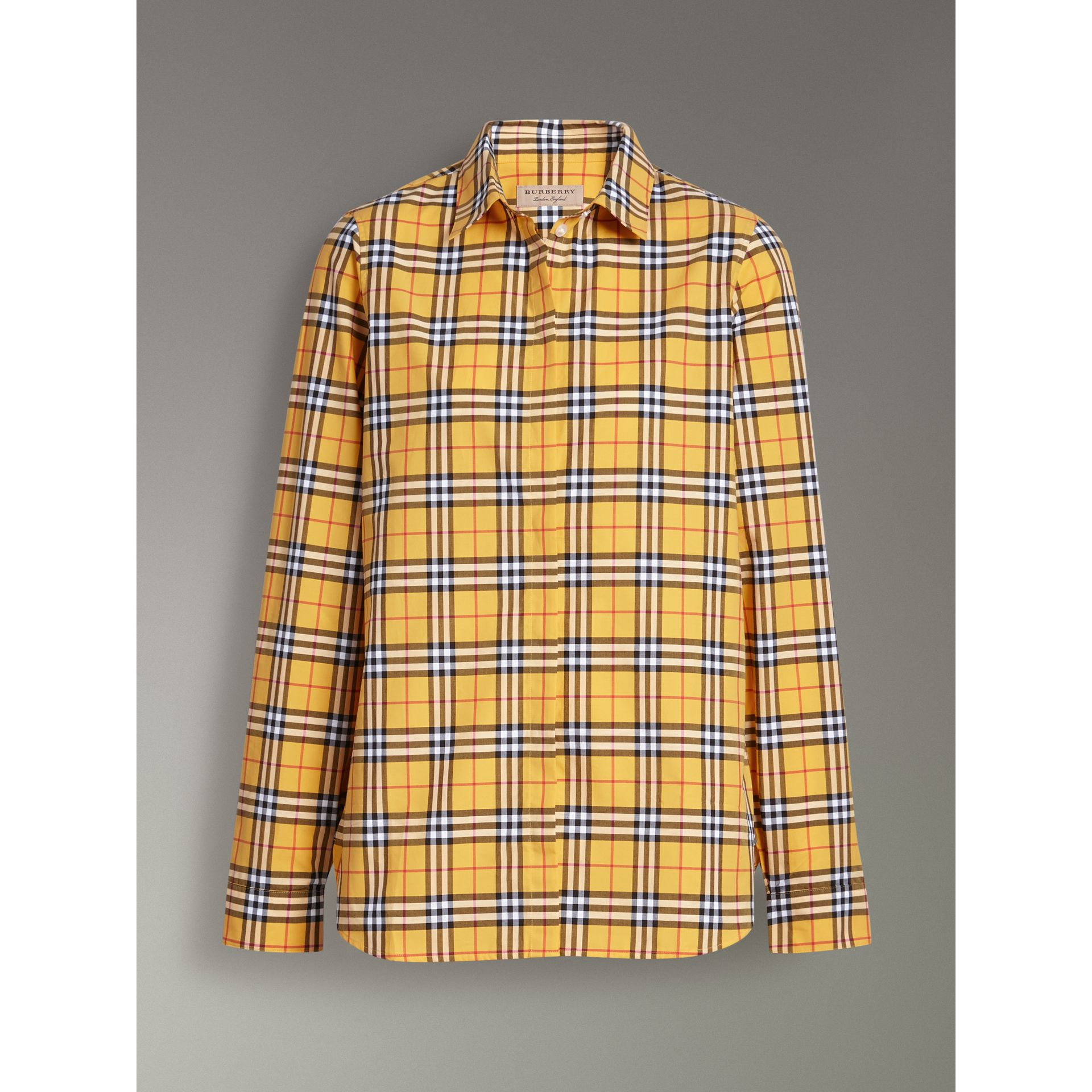 Check Cotton Shirt in Bright Ochre Yellow - Women | Burberry - gallery image 3