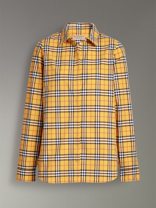 Check Cotton Shirt in Bright Ochre Yellow - Women | Burberry - cell image 3