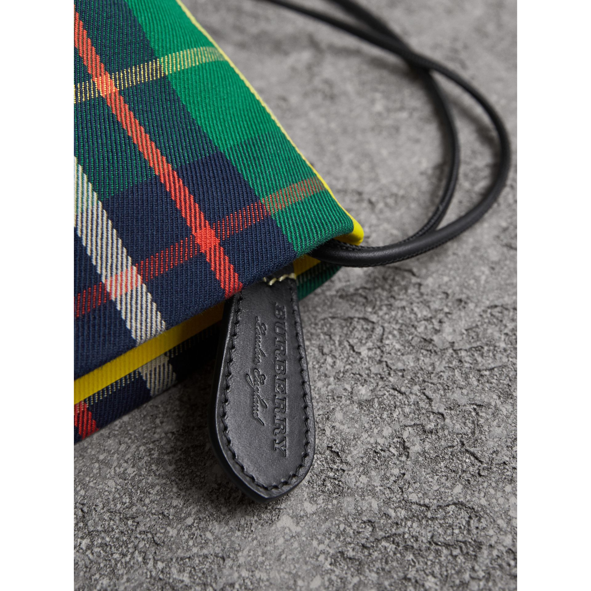 Tartan Cotton Clutch in Forest Green/deep Navy | Burberry Singapore - gallery image 1