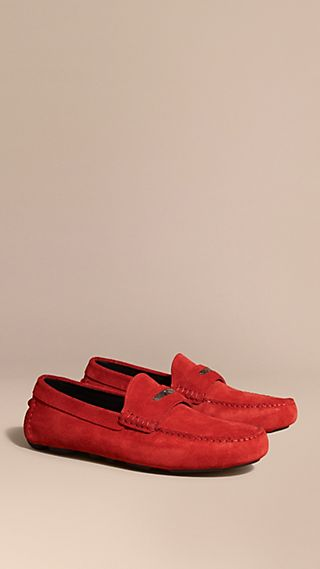 Suede Loafers with Engraved Check Detail Bright Rowenberry