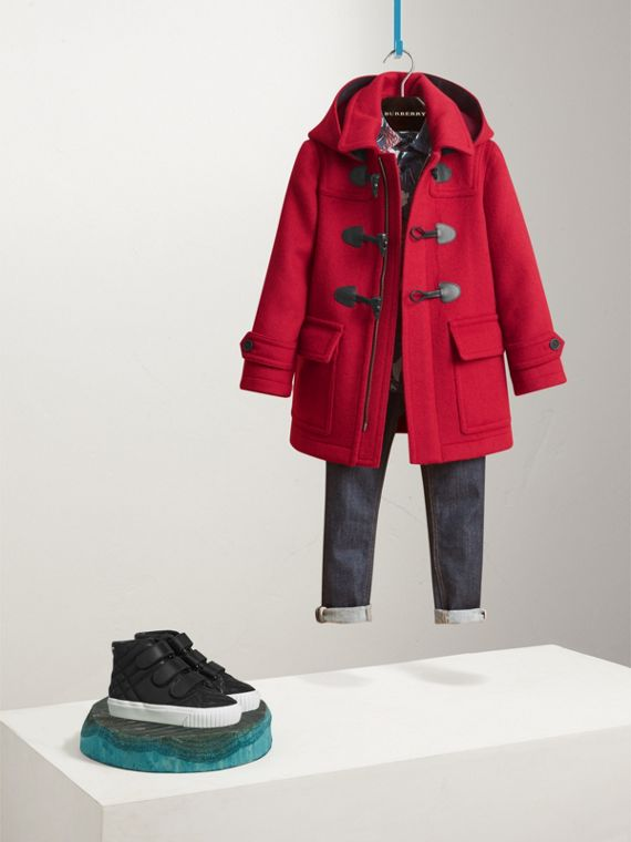 Hooded Wool Duffle Coat in Parade Red