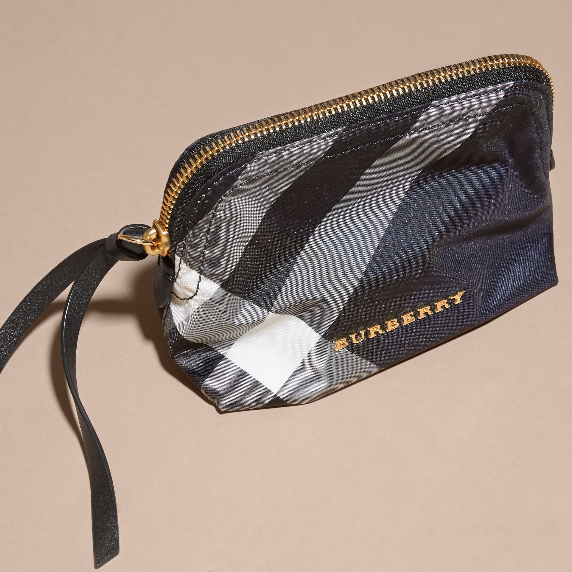 Small Zip-top Check Pouch in Indigo Blue - Women | Burberry Australia - gallery image 3