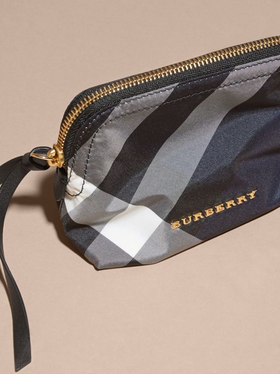 Small Zip-top Check Pouch in Indigo Blue - Women | Burberry - cell image 2