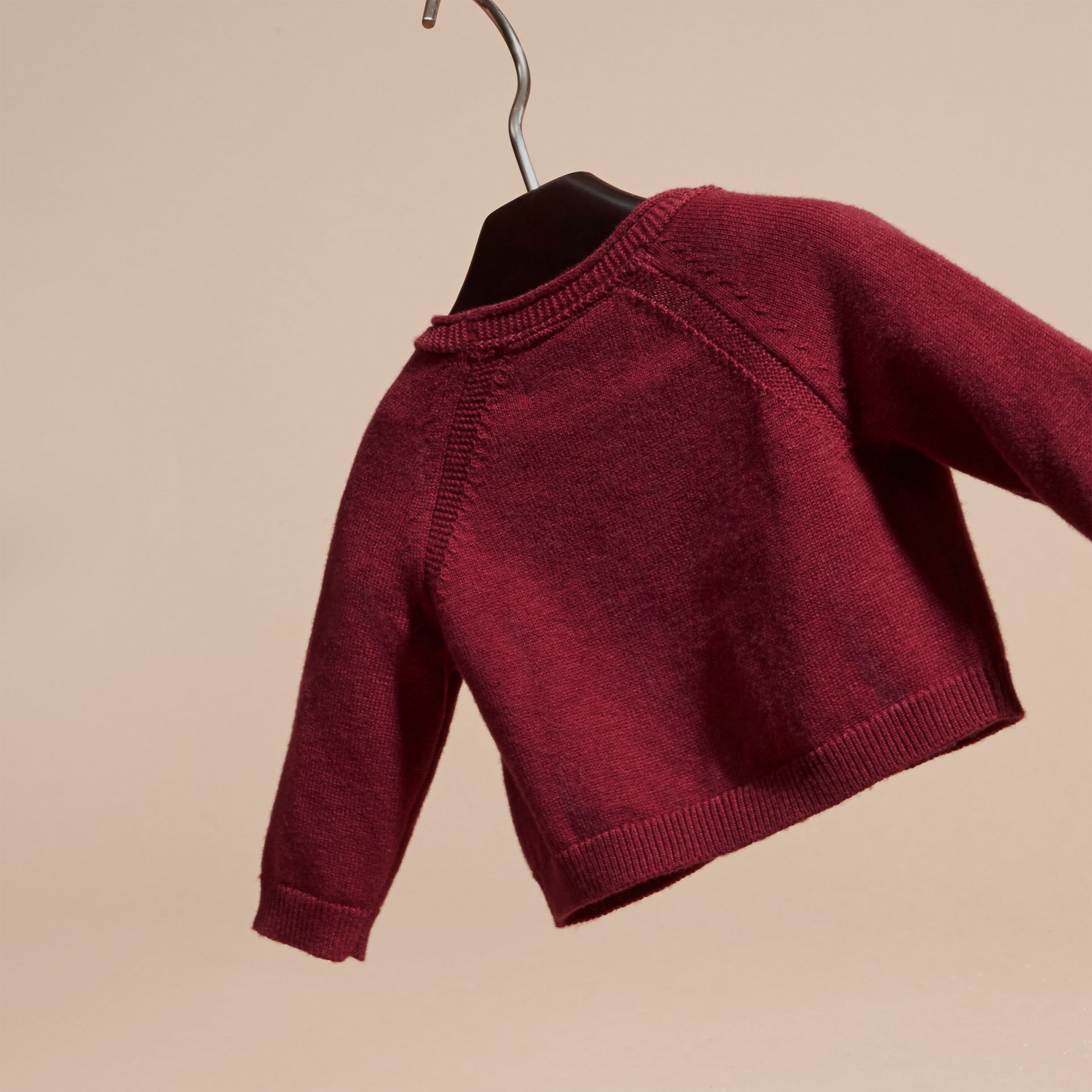 Dark plum pink V-neck Cashmere Cotton Cardigan Dark Plum Pink - gallery image 4