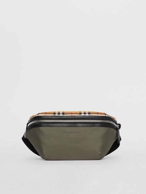 Medium Vintage Check and Nylon Bum Bag in Military Green
