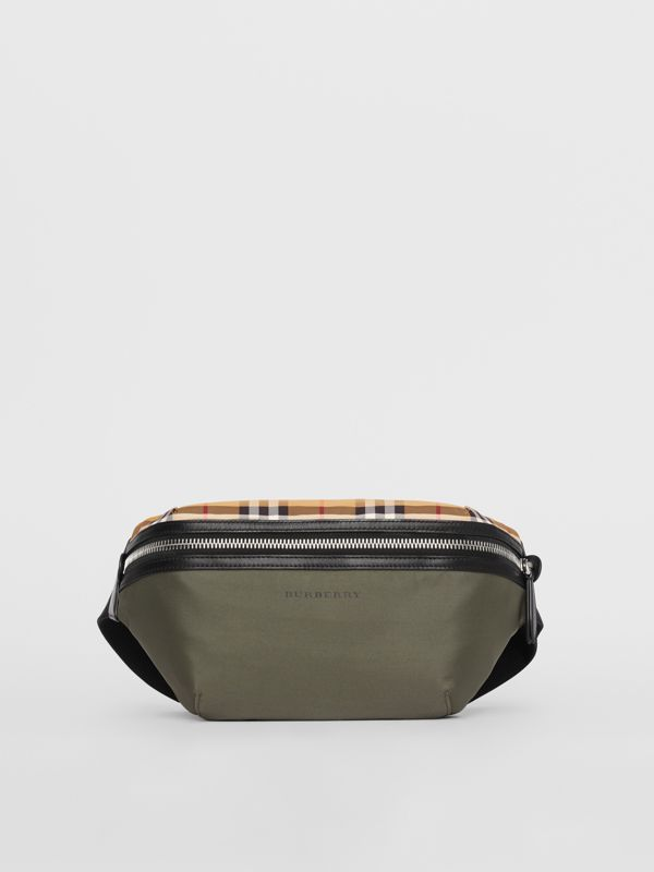 Medium Vintage Check and Nylon Bum Bag in Military Green | Burberry Australia - cell image 3