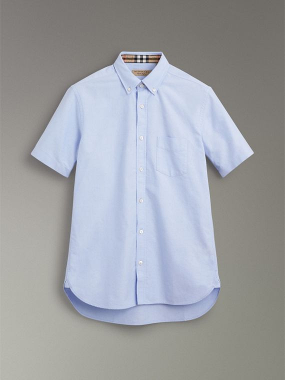 Short-sleeve Cotton Oxford Shirt in Cornflower Blue - Men | Burberry - cell image 3