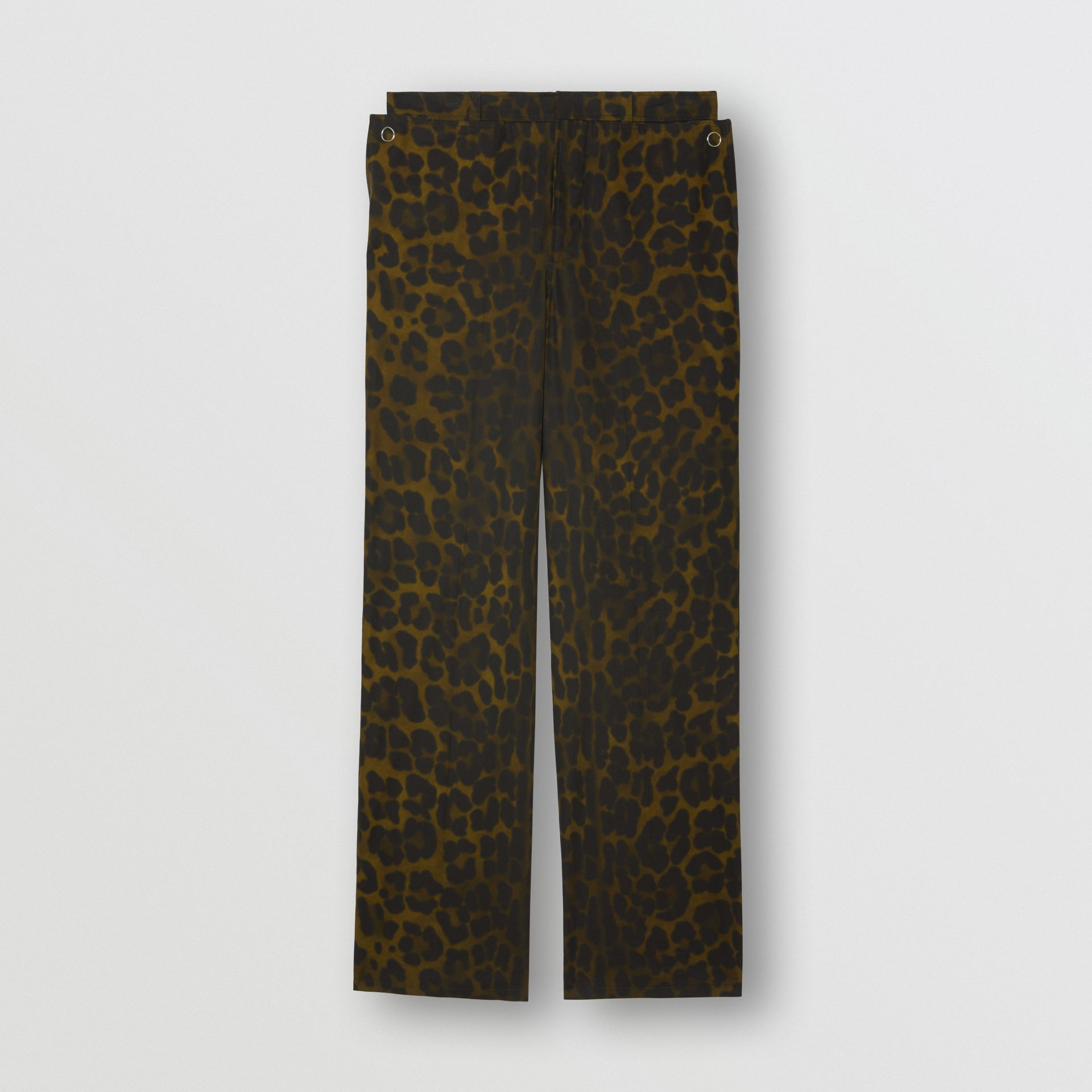 Relaxed Fit Leopard Print Cotton Trousers in Khaki Green | Burberry - gallery image 3