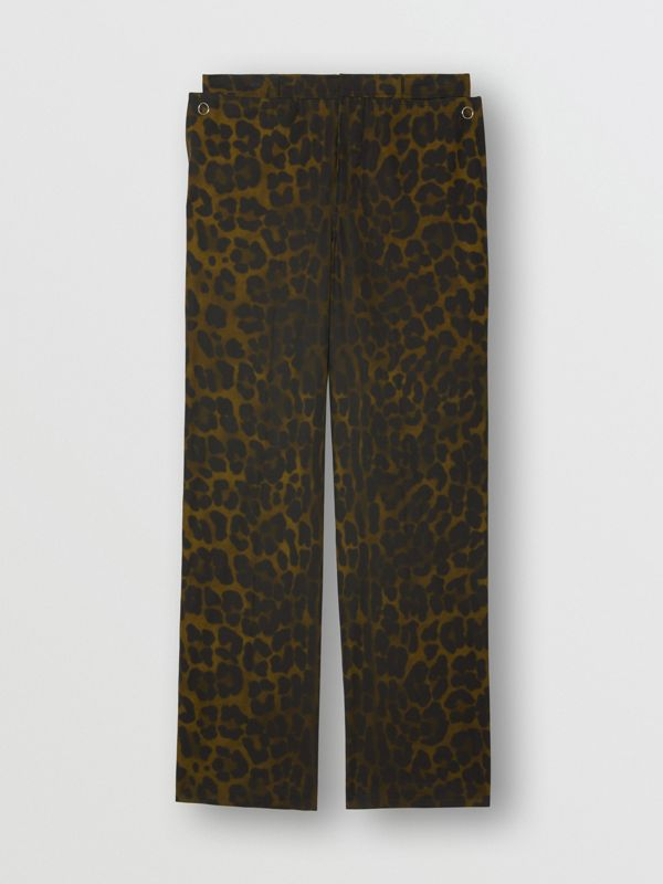 Relaxed Fit Leopard Print Cotton Trousers in Khaki Green | Burberry - cell image 3