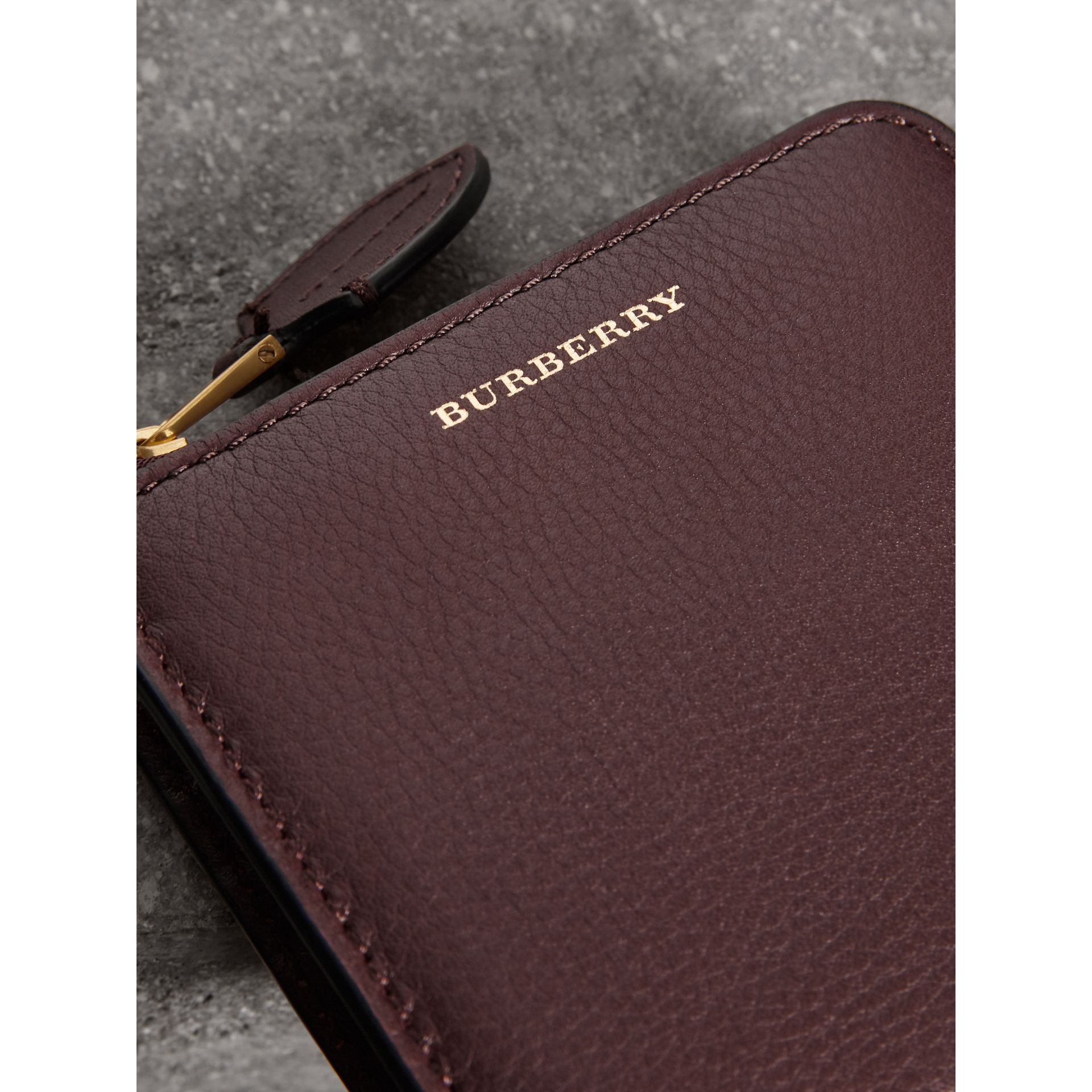 Grainy Leather Square Ziparound Wallet in Deep Claret - Women | Burberry - gallery image 1
