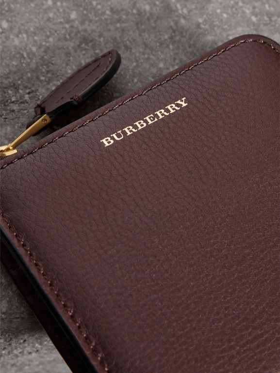 Grainy Leather Square Ziparound Wallet in Deep Claret - Women | Burberry Canada - cell image 1