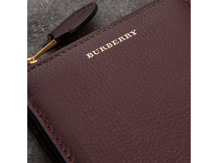Grainy Leather Square Ziparound Wallet in Deep Claret - Women | Burberry United Kingdom - cell image 1