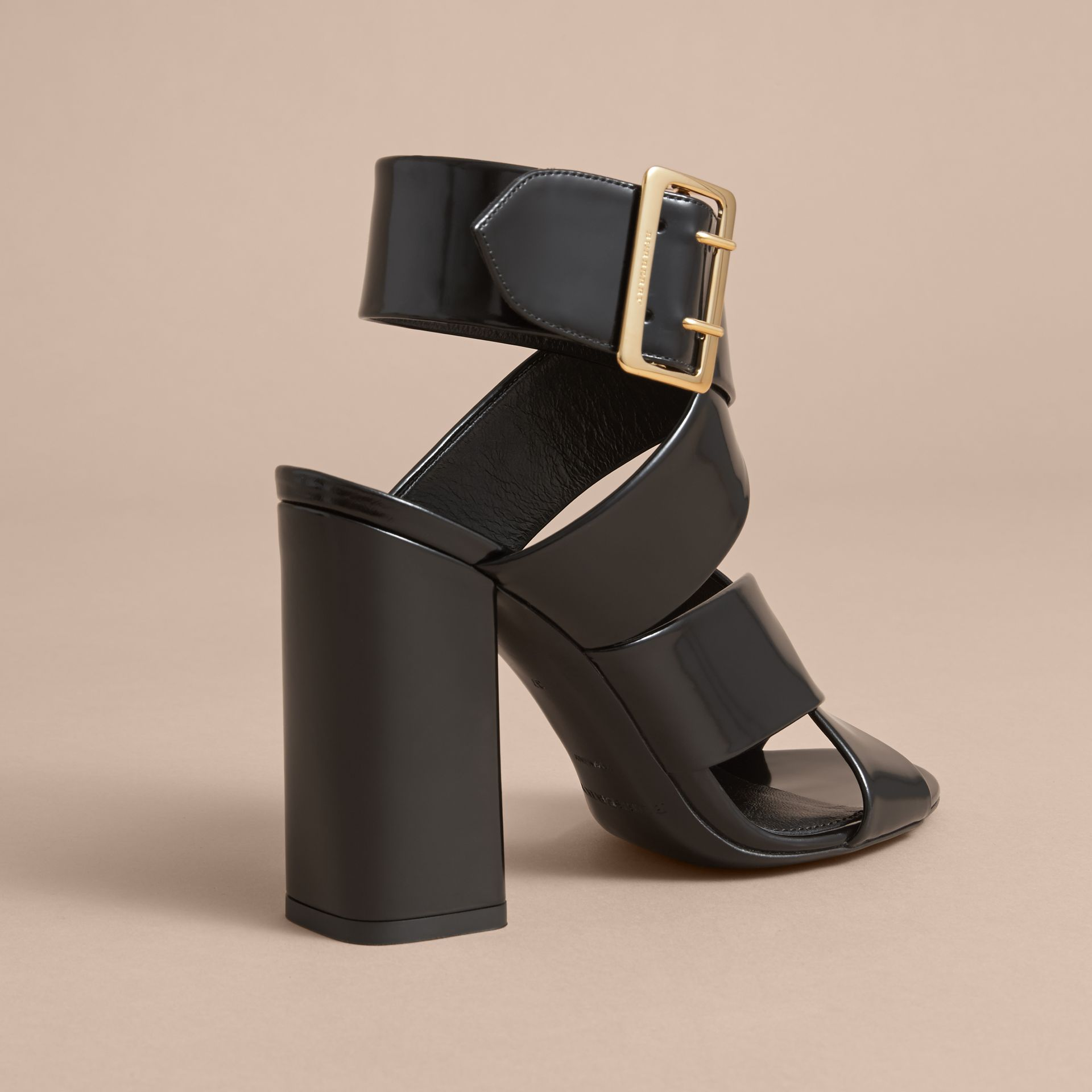 Buckle Detail Patent Leather Sandals in Black - Women | Burberry - gallery image 4