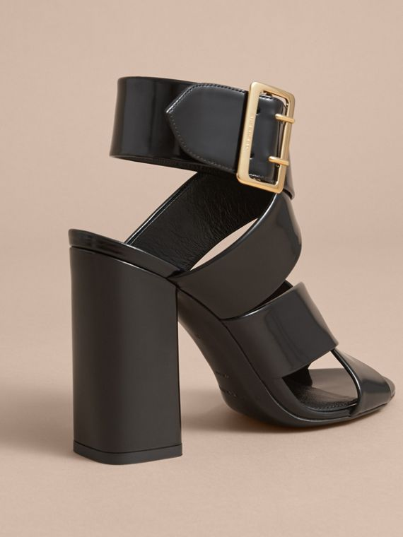 Buckle Detail Patent Leather Sandals in Black - Women | Burberry - cell image 3