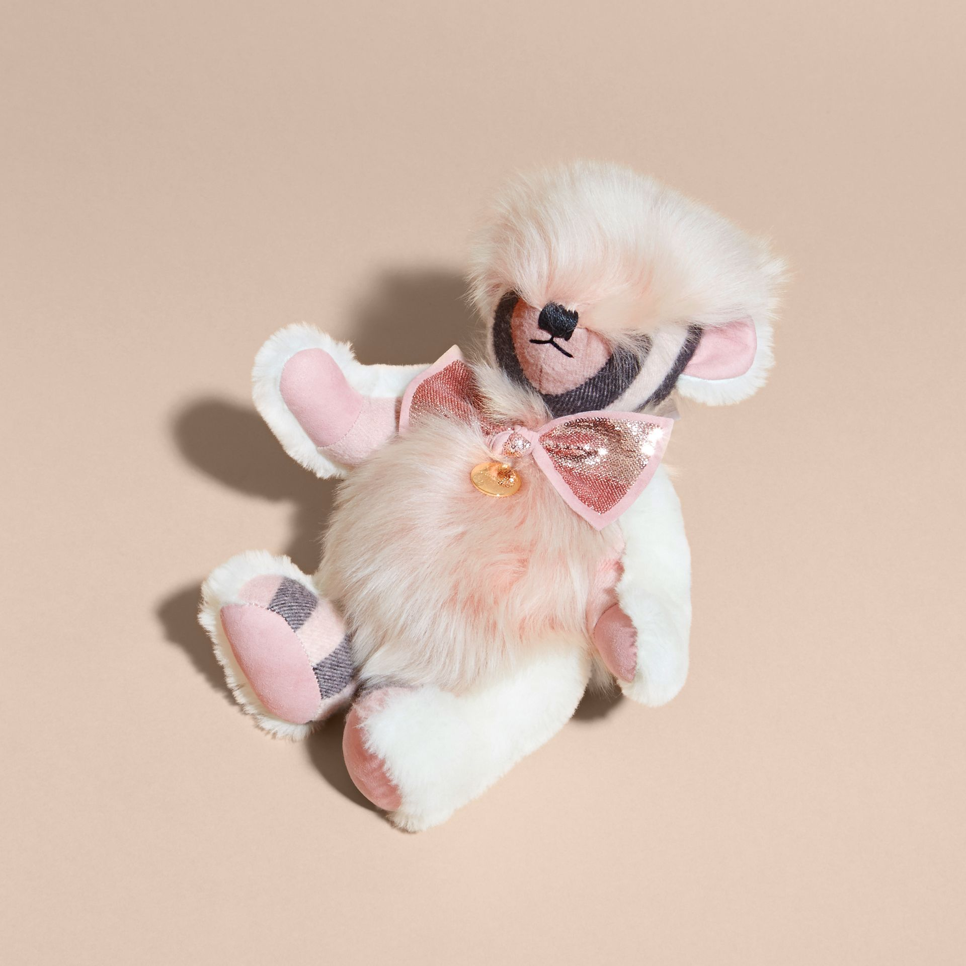 Ash rose Pom-Pom Thomas Bear in Shearling and Check Cashmere Rose - gallery image 3