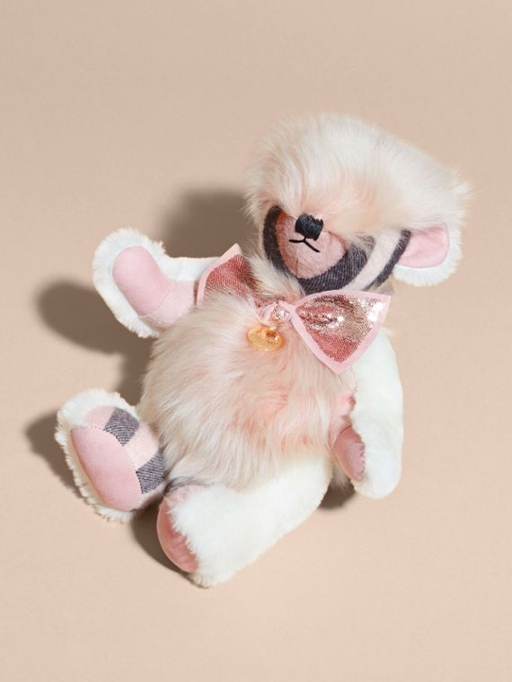 Pom-Pom Thomas Bear in Shearling and Check Cashmere Rose - cell image 2
