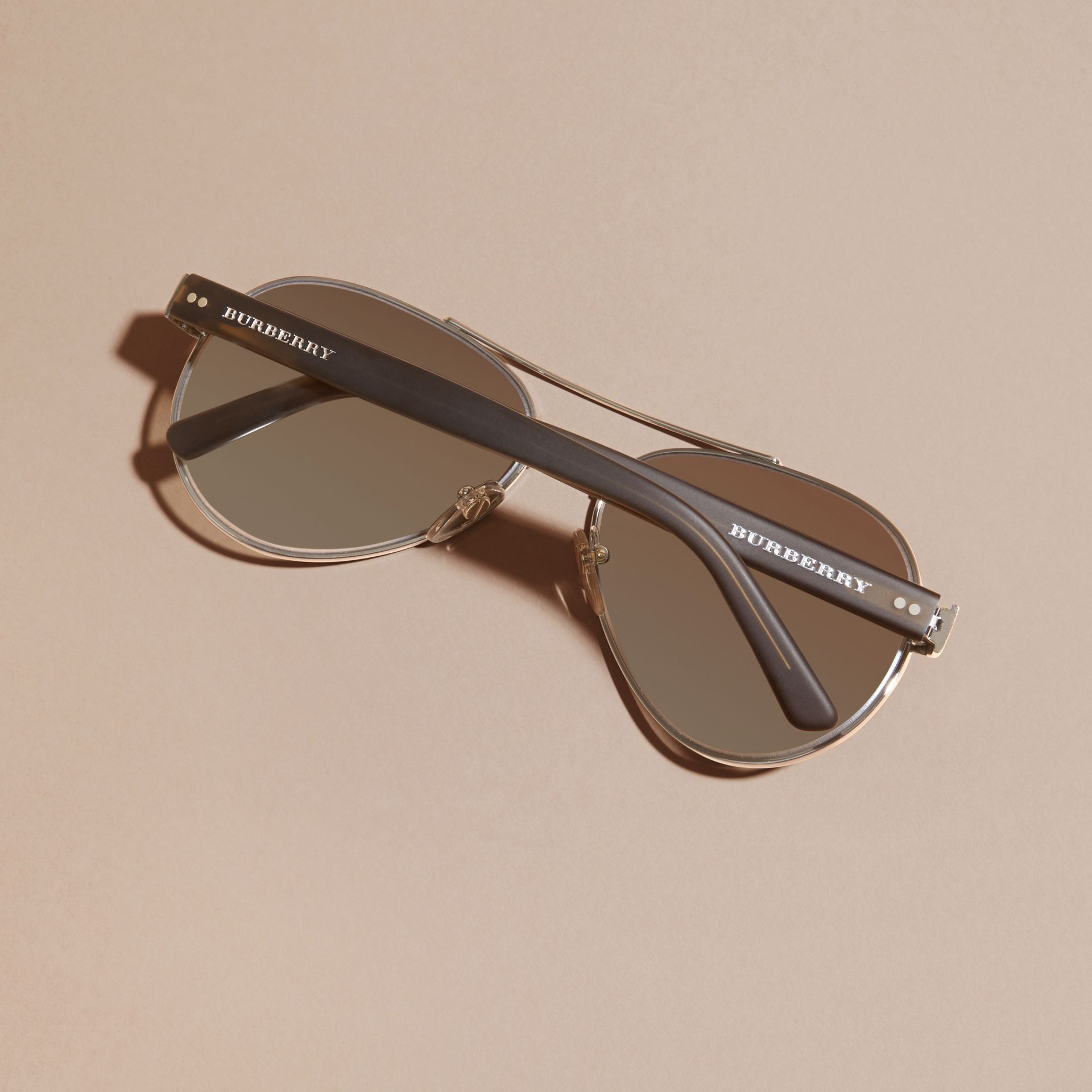 Pilot Sunglasses in Brushed Steel - Men | Burberry - gallery image 4