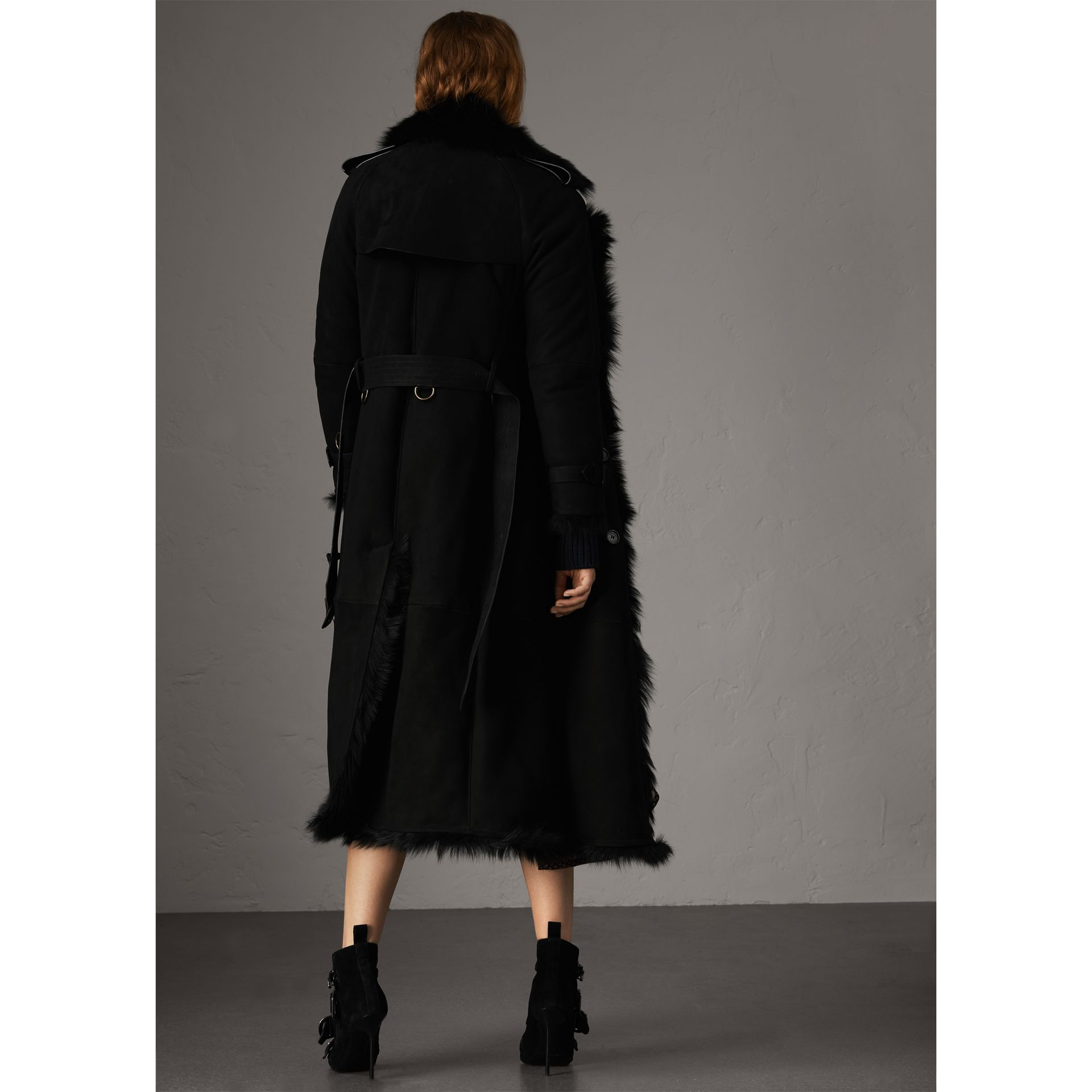 Shearling Long Trench Coat in Black - Women | Burberry - gallery image 3