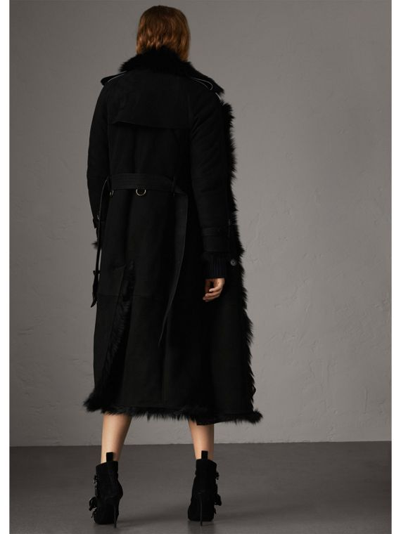 Shearling Long Trench Coat in Black - Women | Burberry - cell image 2