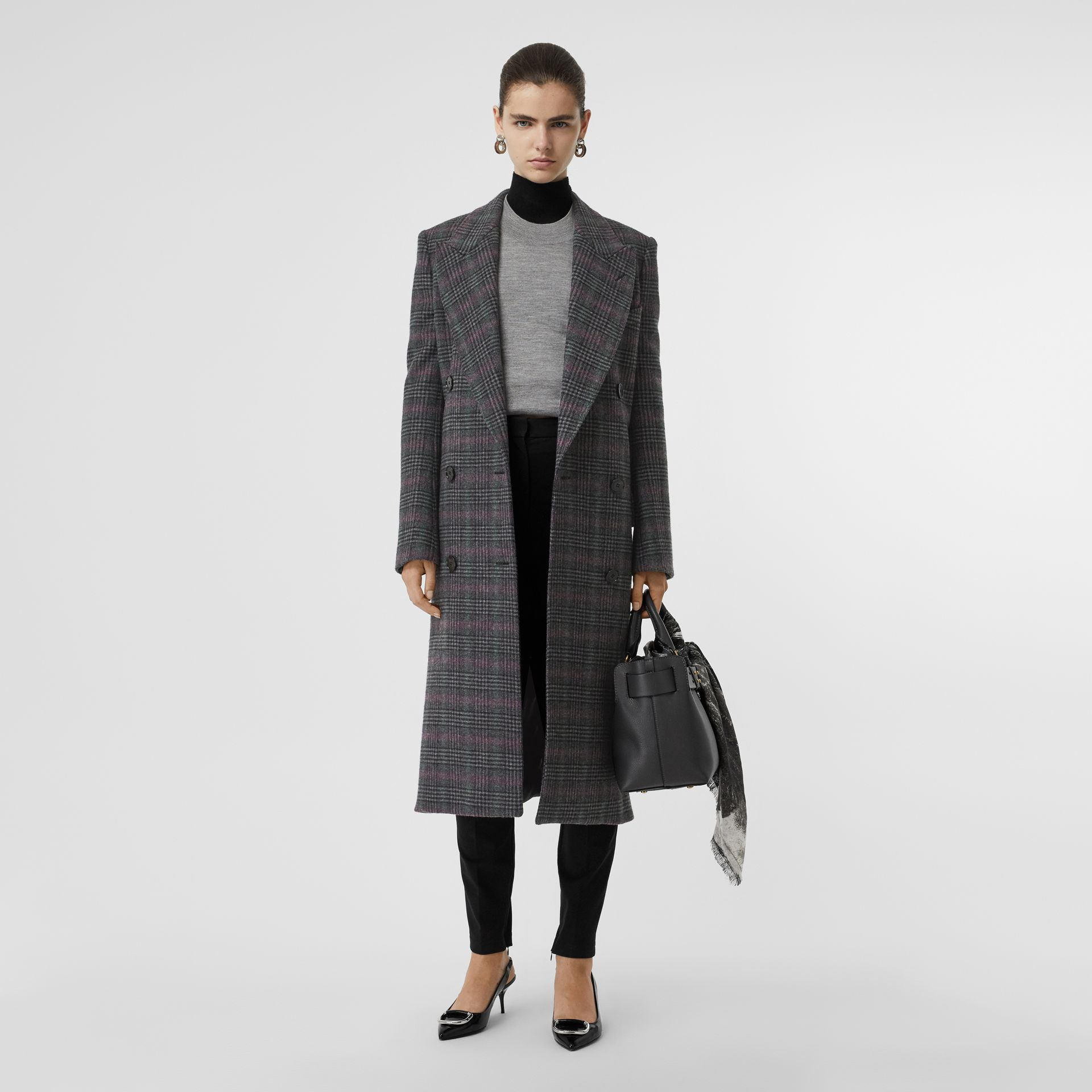 Prince of Wales Check Wool Tailored Coat in Charcoal - Women | Burberry Canada - gallery image 0