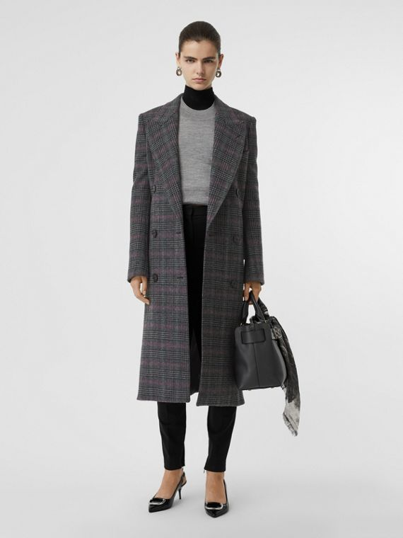 Prince of Wales Check Wool Tailored Coat in Charcoal
